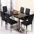 Dining Glass Table with Faux Leather Dining Chairs High Back Kitchen Restaurants