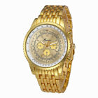 UK Mens Stainless Steel Wrist Watch Silver Gold Analog Quartz Luxury Watches