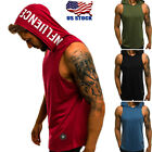 Men's Sleeveless Vest T-shirt Tee Tank Tops Hooded Hoodie Bo