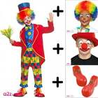 Circus Clown Boys Girls COSTUME + WIG + SHOES +NOSE + FACEPAINT Kids Fancy Dress