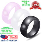 Ceramic Wedding Band Womens Mens Durable Hypoallergenic 8mm Comfort Fit Ring  image