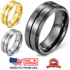 Men's Ring, Stainless Steel 8mm Polished Wedding Band Silver, Gold, or Black