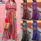 Womens Button Rainbow Stripe Short Sleeve Boho Maxi Long Dre