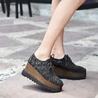 Women Sequin Leather Lace Up Platform Sneakers Creepers Running Wedge Heel Shoes