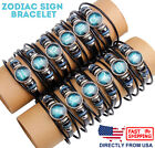 Unisex Astrology Constellation Zodiac Sign Horoscope Leather Wristband Bracelet image