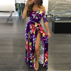 US Plus Size Women Off Shoulder Party Long Maxi Summer Holiday Beach Dress Print