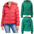 New Ladies Faux Fur Trim Hooded Padded Puffer Quilted Bomber Hop Jacket Coat