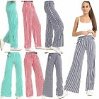 New Women High Waist Casual Stripe Print Flared Wide Leg Palazzo Trousers