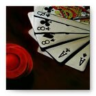 Dead Mans Hand Artist Signed Poker Oil Painting Gallery Mounted Canvas Wall Art