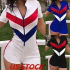 US Women Short Sleeve Zipper Patchwork Bodycon Club Casual Sport Short Jumpsuit