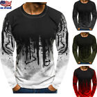 Men's Slim Fit O Neck Long Sleeve Muscle Tee Shirts Casual T-shirt Tops Blouse w image
