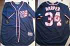 Blue Majestic Washington Nationals Bryce Harper 34 Cool Base Jersey L or XL on Ebay