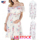 US Pregnant Women Off Shoulder Long Midi Dress Maternity Photography Dress White