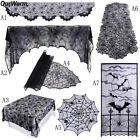 Black Spiderweb Fireplace Mantle Scarf Cover Tablecloth Halloween Party Decor