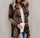 Women Irregular Tassel Knitted Cardigan Sweater Poncho Shawl Coat Jacket Outwear