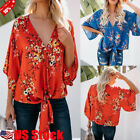 Women's Floral Print V Neck Summer Tops Blouse Party Loose C
