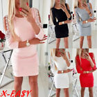 Sexy Womens Cold Shoulder Beading Bodycon Dress Ladies Evening Party Mini Dress