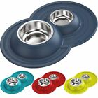 Cat Centre® Double Stainless Steel Pet Bowl Food Water Metal Dishes NonSlip Cat