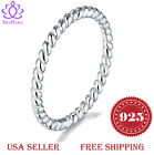 BORUO 925 Sterling Silver Ring Eternity Rope Comfort Fit Wedding Band Size 4 12