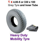 Single 4.00-5 or 330 x 100 Grey Mobility Scooter Tyre with Inner Tube