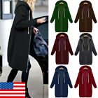US Women Plus Size Long Sleeve Hooded Cardigan Zip Up Jacket Coats Sweatshirt
