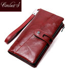 Contact's Genuine Leather Women Wallets Long Design Clutch Cowhide High Quality image