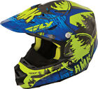 HMK Blue/Hi-Vis Green Adult F2 Carbon Pro Snowcross Snowmobile Helmet Fly Racing