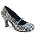 MERMAID-70 3 Heel Mary Jane Pumps Silver Mermaid Scale Halloween Costume Shoes