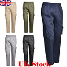 UK Mens Elasticated Pockets Work Trousers lightweight Cargo Combat Working Pants