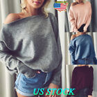 Oversize Women Off Shoulder Batwing Sleeve Sexy Sweater Tops Pullover Outwear