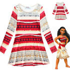 Long Sleeve Dress For Girls Kids Moana Cosplay Costume Princess Halloween Gift