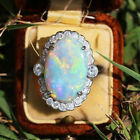 Uk Women Silver Platinum Opal Gemstone Oval Ring Band Gift Wedding Jewelry Size