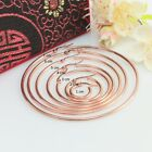 Stainless Steel Rose Gold Plated Simple Hinged Hoop Earrings, Choose the size