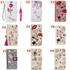 Bling Leather Filp slots Wallet Protective Case Cover & straps For ZTE F19