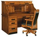 Amish Mission Arts & Crafts Roll Top Desk Solid Wood Luxury Office Furniture