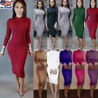Sexy Womens Long Sleeve Bodycon Evening Party Cocktail Stretch Pencil Midi Dress