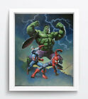 "Cartoon Art Oil Painting Print On Canvas Home Decor""Super Hero""Framed"
