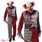 Mens Evil Clown Costume Adult Circus Hell Halloween Fancy Dress Jumpsuit + Mask