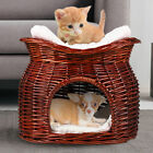 Handmade Double Cat Dog Supplies Kitten Puppy Bed Natural Woven Twin Basket