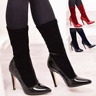 Ladies Womens High Heel Party Boots Socks Stretch Ankle Court Velvet Shoes Size