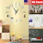 3D Modern DIY Large Number Mirror Wall Sticker Big Watch Home Decor Art Clock