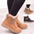 Ladies Womens Winter Fur Ankle Boots Army Combat Casual Warm Lace Up Shoes Size