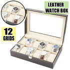 6 10 20 24 Grid Slot Leather Jewelry Watch Box Lockable Display Case Organizer