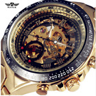 Winner Luxury Golden Stainless Steel Men Skeleton Automatic Mechanical Watch