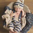 Newborn Photography Props Infant Crochet Knitted Costume Set Elf Button Pants+Be