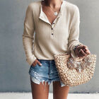 Womens Button Loose Knit Tunic Blouse Tops Casual Long Sleeve Shirts Pullover US <br/> ❤️US Seller❤️60 Days Free Return❤️EXTRA 10% OFF 2+ ITEM