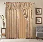 Window Curtains 2 Panel Set Luxury Red Burgundy With Valance Diamond Collection