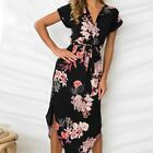 Women Geometric Irregular Dresses Long Beach Sundress Loose Summer Printed V-nec