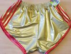 Sexy Retro PVC Sprinter Shorts S to 4XL, Gold-Red
