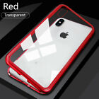 For iPhone X Xs Max Xr Case 7 8 Plus Magnetic Metal Bumper Tempered Glass Cover